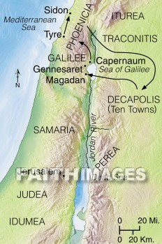 A map of Tyre, Sidon, and the Decapolis, and the route Jesus traveled through them.