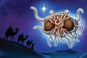 The Flying Spaghetti Monster watching over Jesus's birth