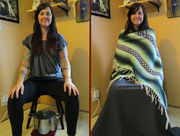 Smiling woman misplaces pot of soup, rests on stool after failed search mission.